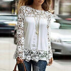 Women's Fashion Chiffon Long Sleeve Embroidery Lace Crochet Tee Shirt Tops