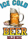 Ice Cold Beer DECAL (CHOOSE YOUR SIZE)  Food Truck Sign Restaurant Vinyl
