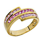 Princess Pink CZ Gold Plated Silver Jewelry Women's Wedding Engagement Ring