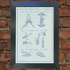 STAR WARS x 6 Ships Blueprint VERY RARE Reproduction Vintage Wall Art Print #24