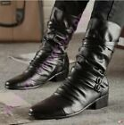 Mens Zip Back Fur Lining  Pointy Toe Cowboy Buckle Mid Calf Boots Motor Riding