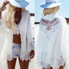 Womens Long Sleeve Animal Print Lace Casual Blouse Loose Kimono Coat Tops Plus