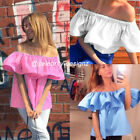 tp193 CFLB Women Ladies Off Shoulder Top Boho Frill Ruffle Blouse Size 6 8 10