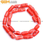 "Coral Stone Beads For Jewelry Making 15"" Coloumn Tube Beads in Lots Wholesale"