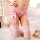 Women's Lace Top Thigh-Highs Stockings Garter Belt Suspender Set 4 Colors