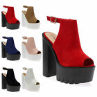 WOMENS LADIES CLEATED SOLE PEEP TOE PLATFORM CHUNKY HIGH HEEL SHOES SIZE 3-8