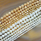 Natural White & Yellow Mother Of Pearl MOP Shell Round Beads 16c 3mm 4mm 5mm 6mm