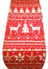 NORDIC TABLE RUNNER - CHRISTMAS STAGS REINDEER red & white scandi xmas- runners