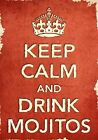 ACR35 Vintage Style Red Keep Calm Drink Mojitos Funny Art Poster Print A2/A3/A4