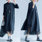 Spring Casual Loose Fit Maxi Long Sleeve Cotton Women's Long Dress Black