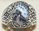 Sterling 925 SILVER Dendrite OPAL Men's Ring, Natural Gem, Gents, Sizes N to Z+5