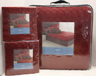 LOT 1 / 3 -  Vera Wang LINKS Quilted COVERLET + 2 EURO Shams Geometric RED KING