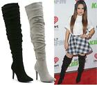 WOMENS OVER THE KNEE THIGH HIGH STILETTO HEEL LADIES RUFFLE CALF BOOTS SHOES SIZ