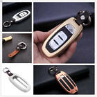 For Audi Car Key Fob Case Cover New Keyless Entry Aluminum Genuine Leather+Chain