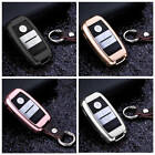 For KIA Car Key Fob Case Cover Hot Keyless Entry Aluminum Genuine Leather+Chain
