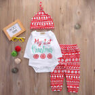 My 1st Christmas Newborn Baby Boys Girls Clothes Tops Romper Pants Hat Outfits