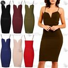Women Midi Dress Ladies Bralet Camisole Strappy Block Ribbed Fitted Long Bodycon