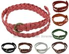 BONAMART Fashion Braided Genuine Leather Skinny Belt w Buckle Women Candy Color