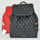 $258 Vera Bradley Quilted Leather Amy Backpack Bag Purse Sac Black Tango Red New