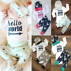 3pc Newborn Baby Girl Boy Hello World Tops Romper+Deer Pants Outfits Set Clothes