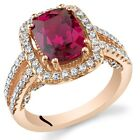 Created Ruby Rose Goldtone Halo Ring Sterling Silver 2.75 Carats Sizes 5 to 9