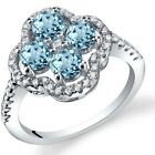 London Blue Topaz Clover Ring Sterling Silver Sizes 5 to 9