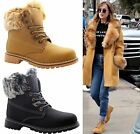 Ladies Womens Grip Sole Winter Warm Ankle Fur Combat Boots Trainers Shoes Size