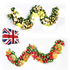 2.7m/9ft Decorated Garland Christmas Decoration Xmas Fireplace Tree Pine Ribbon