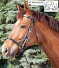 New Waldhausen Star 2 Sidepull Brown Leather & Nylon Cord Bitless Bridle. Reins