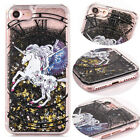Black Glitte Bling Dynamic Quicksand Unicorn Case Cover For iPhone 6s 7 7 Plus