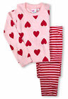Girls Pyjama Set New Kids Heart Print Cotton Long Sleeved PJs Ages 2-13 Years