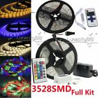 3528 SMD 300leds/5M Flexible LED Strip Lights +IR Remote+Power Supply Full Kit