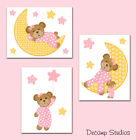 Внешний вид - Pink Teddy Bear Wall Art Prints or Decals Moon Stars Baby Girl Nursery Stickers