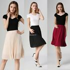 NEW Ladies Women Layer Chiffon Pleated Retro Long Maxi Dress Elastic Waist Skirt