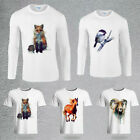 Casual Men Animal Printed Gildan Cotton T-Shirt Round Neck Short/Long Sleeve New