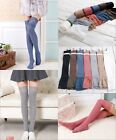 Women Knitted Cotton Lace Over Knee High Socks Thigh Stockings Pantyhose Tights