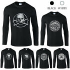 New Solid Skull Printed Gildan Men Tee Cotton T-shirt Top Long Sleeve Crew Neck