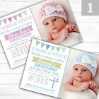 Personalised Bunting Boy or Girl Christening Baptism Invitations Invites