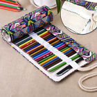 New 36/48/72 Holes Canvas Wrap Roll up Pencil Case Pen Bag Holder Storage Pouch