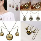 CharmHeart Wedding Jewelry Sets Panda Glass Cabochon Bronze Necklace Earrings