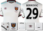 16 / 17 - UMBRO WEST HAM UNITED AWAY SHIRT SS + PATCHES  BERKOVIC 29 = KIDS SIZE