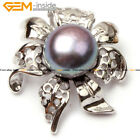 10-11mm Freshwater Pearl White Gold Plated Daffodils Frame Pendant For Necklace