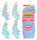 Ladies Thermal Socks New Womens 3 Pack Pastel Cotton Rich Winter Socks One Size