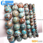 Handmade Blue Crazy Lace Agate Beaded Stretchy Bracelet Gift Free Shipping 7""
