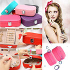 Jewelry Box Storage Organizer Case Ring Earring Necklace PU Leather With Mirror