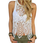 Women's Casual Loose Sleeveless Lace Crochet  Vest Tank T Shirt Blouse Tops
