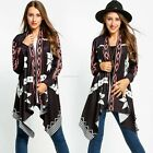 Women's Knitting Cardigan Long Sleeve Collarless Printing Asymmetric Hem Coat