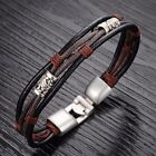 Luxury Mens Genuine Leather Magnetic Clasp Chain Bracelet Bangle Xmas Gifts New
