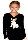 Girls Dog T-shirt,with Sequins Patch Doggie Shirts Size 10~12 Black Long Sleeve