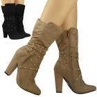 WOMENS LADIES STUD STRAPS HIGH HEEL FAUX SUEDE MID CALF ROUCHED BOOTS SHOES SIZE